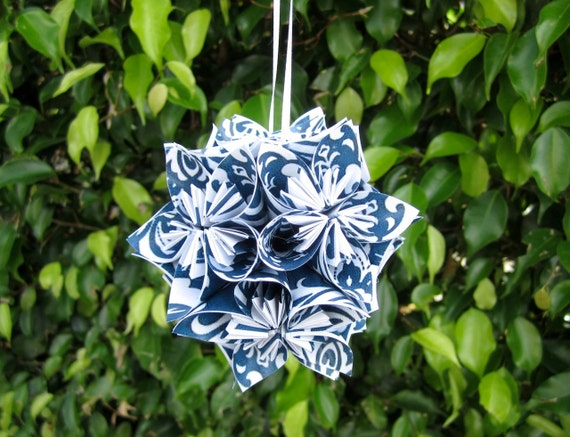 Blue Damask Small Paper Flower Pomander Ornament