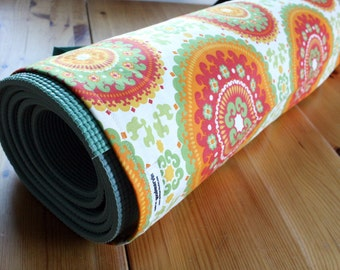 Handmade Yoga Bag in Tribal Print - Orange, Green, Red, and Yellow Medallions