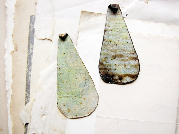 handmade vintage tin drops- artisan made findings - green drops - rustic reclaimed metal