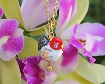 Posh Chicken necklace - little red white and black hen or rooster with a golden egg on gold plated chain -Free Shipping USA