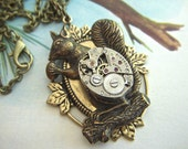 Steampunk Necklace Antiqued Brass Squirrel Tiny Vintage Watch Movement Gothic Victorian Primitive Art Jewelry