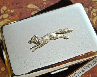 Silver Fox Business Card Case Victorian Steampunk Style Vintage Inspired Nickel Silver Card Holder Or Small Cigarette Case Rounded Corners