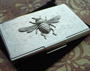 Silver Bee Business Card Case Vintage Inspired Steampunk Gothic Victorian Scroll Pattern Metal Card Holder