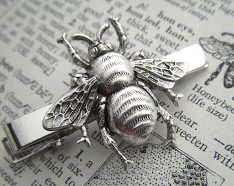 Men's Tie Clip Silver Bee Tie Clip Steampunk Tie Clip Gothic Victorian Steampunk Style Men's Gifts Bug Tie Bar