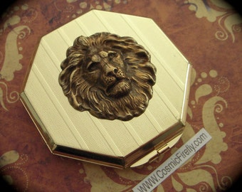 Brass Lion Mirror Case Vintage Inspired Art Deco Octagon Shape Gold Case Mirror Compact Case
