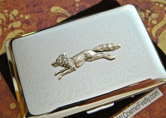 Silver fox business card case victorian steampunk style for Steampunk business card holder