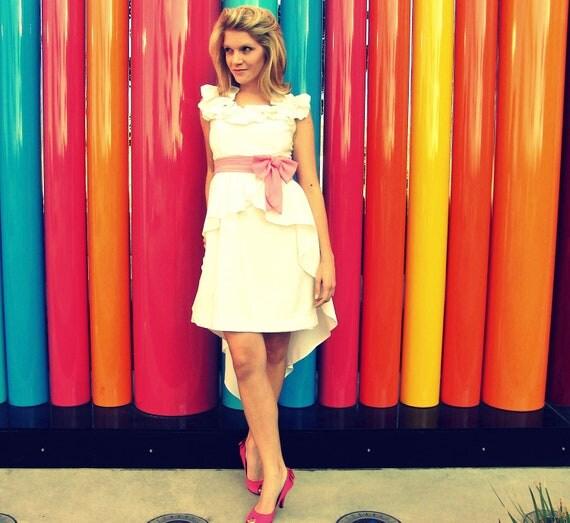 Fishtail Style Short White Vintage Wedding Dress with Pink Sash