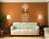 Family - Like branches on a tree ...vinyl wall quote with Tree Silhouette vinyl wall art decal