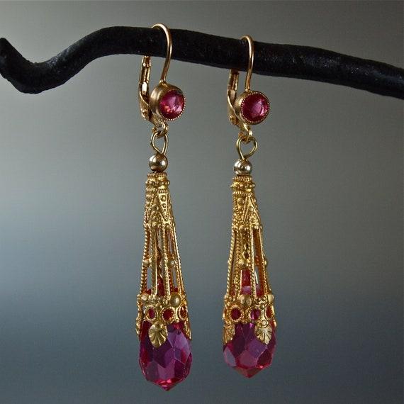 OOAK Earrings Vintage Czech Princess Gold Filigree Aiglettes Pink Crystal Earrings