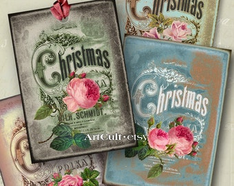 Printable Download XMAS ROSES Gift Tags Digital Collage Sheet Greeting Cards Jewelry Holders Art Cult graphics christmas scrapbook paper