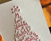 6 Red Letterpress Christmas Tree Card