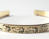 Etched Brass Cuff Delicate Flowers No. 5