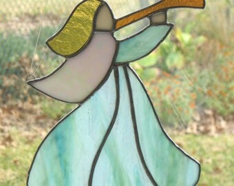 Stained Glass Angel Suncatcher - Green