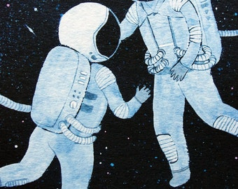 8x10 print -  fine art color print - astronauts in love
