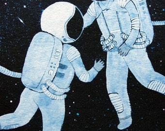 11x14 print -  fine art color print - astronauts in love