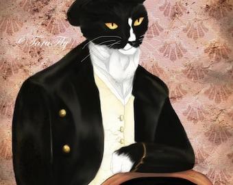 Mr Darcy Tuxedo Cat Art, Pride and Prejudice Animal Portrait 8x10 Art Print