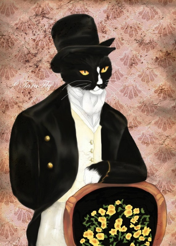 Mr Darcy Tuxedo Cat Art, Pride and Prejudice Animal Portrait 8x10 Art Print