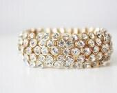 SALE: 18k Gold & Crystal Bangle