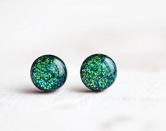 Green Glitter stud earrings - Glitter stud earrings - Tiny stud earrings - Green earrings - Sparkly earrings - Glitter earring (E117)