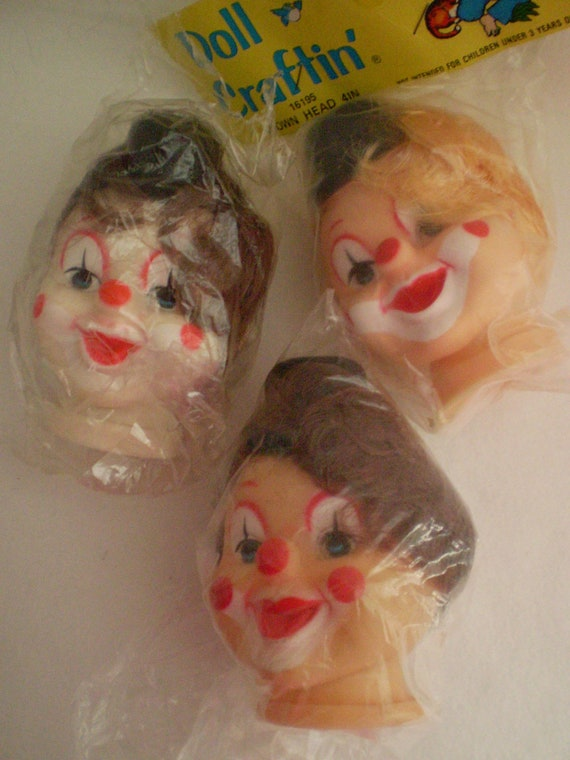 Vintage Clown Doll Heads Set of 3