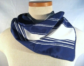Blue and White Vintage Vera Neumann Oblong Scarf