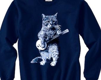 cat shirt - cat tshirt - cat sweatshirt - banjo shirt - cat gifts - cat lover gift -cat lover -music gift - music shirt-BANJO CAT sweatshirt
