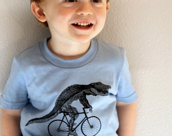 Kids Alligator on a Bicycle T-Shirt - Custom colors available - Hand Screen Printed