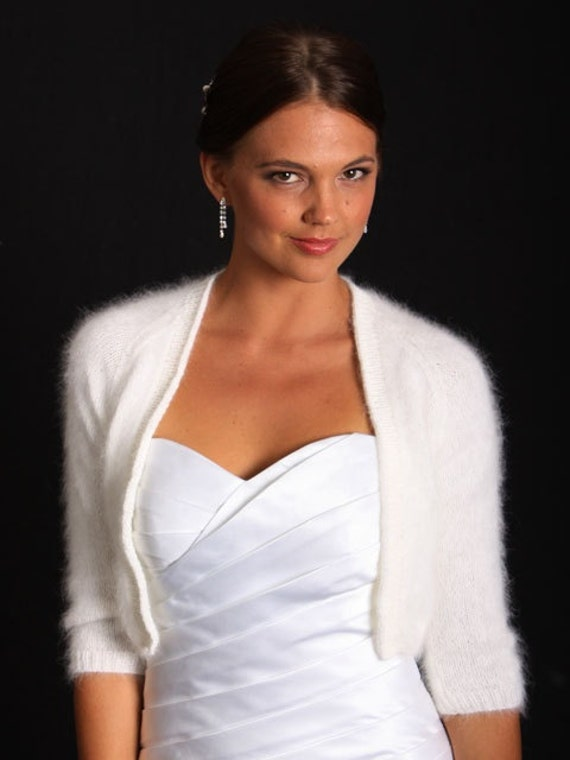 Ready to ship - IVORY Kate Middleton Angora hand knitted three-quarter sleeve cropped with deep v neck/ bridal bolero/ Will fit Size Medium
