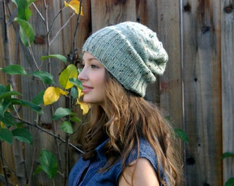 Seafoam Green Knitted Slouch Beanie // Speckled dark green// Pastel Green Accessories // Fall Knit Hat// Fall accessories