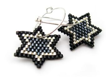 Gun Metal Stars - Earrings - Gun Metal, Silver and Black - Sterling silver hoops