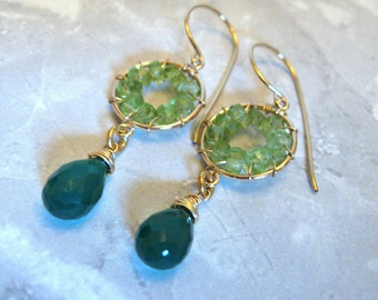 Pinwheel Design- Earrings, Peridot, Green Onyx, Gold Filled, Wire Wrapped