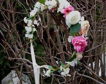 2017 Wedding Trends Flower Crown Rustic Wedding bridal Hair Wreath accessories  -Victoria- pink peach cottage floral headband halo garland