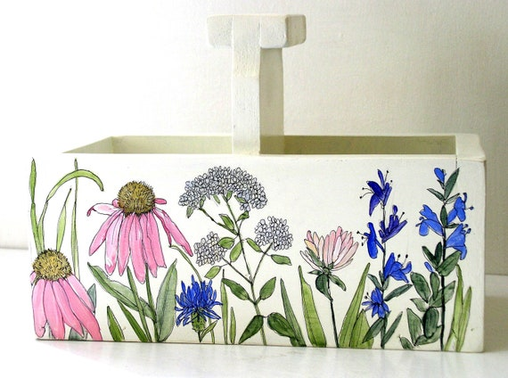 Painted Furniture Botanical Garden Storage Box Farmhouse Cottage Planter
