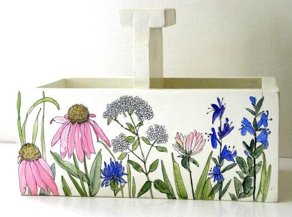 Painted Furniture Botanical Garden Storage Box Farmhouse Cottage Planter