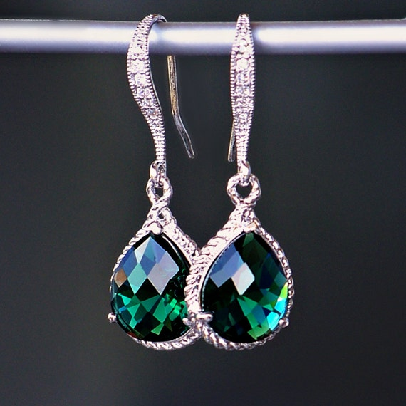 Emerald Green Crystal Teardrops with Rope Trim and CZ Detailed Silver French Earrings in Silver