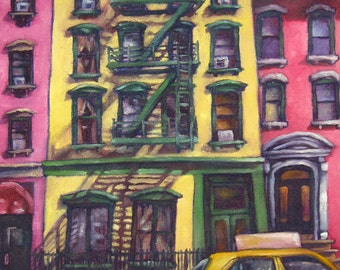 Sunshine Yellow Apartment Matted and Signed Print
