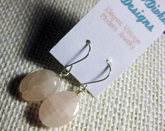 Quartz Earrings, Stone Earrings, Natural Stone Earrings, Pink  Earrings, Gray Earrings, Pink  Quartz, Gray Quartz