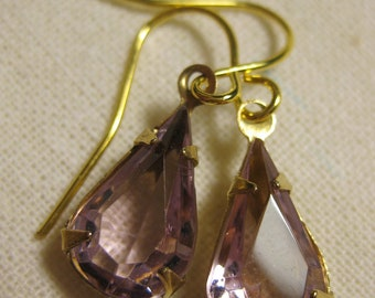 Light Amethyst, Rhinestone Dangle Earrings, Lilac, Vintage Rhinestone, Pear, Light Purple, Vintage, Light Lilac