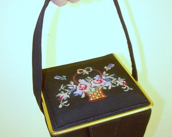 Vintage Box Purse ,Rockabilly purse ,pinup handbag, needlepoint purse, 1950s purse
