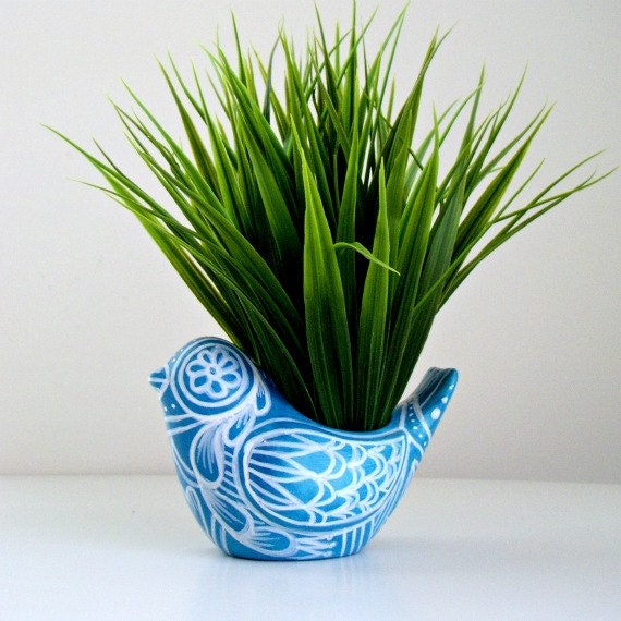 Bird Planter Ceramic Folk Art Turquoise Blue White Spring Home Decor Vase Hand Painted Tattoo Flowers Hearts - READY TO SHIP