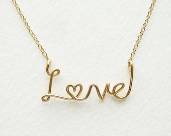 Gold Love Necklace. Aziza Jewelry. 14k Gold Fill Cursive Script