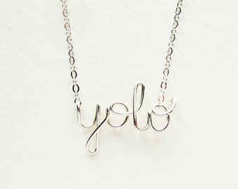 Silver YOLO- You Only Live Once Necklace Sterling Silver