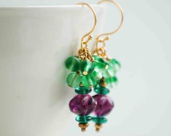 Amethyst  Earrings,  Amethyst Gemstone Earrings, Bohemian Earrings, Purple Violet, Summer Earrings, Mother's Day Gift, Green Earrings