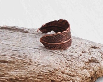 Copper FEATHER Ring Romantic Vintage Style Bohemian Bird Unisex Rustic Nature