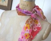 Vintage Pink Fuschia Orange Flower Paisley Scarf - 1960s Nylon Sheer Long Oblong Shape - Brown Raspberry