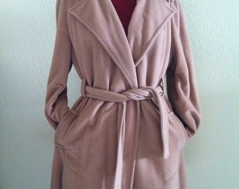 Vintage Camel Faux Cashmere Robe Trench Coat