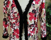 Women's Medium Upcycled Cardigan Sweater- Harvest Bouquet