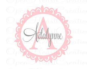 Name and Initial Wall Decal with Circle Scallop Border - Girl or Boy Vinyl Name Monogram - childrens wall decal FN0066