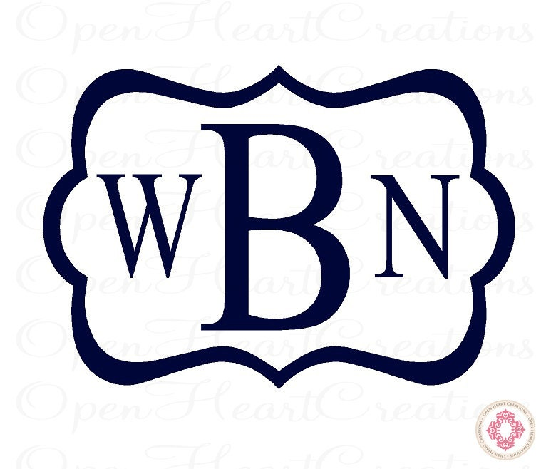 Three initial monogram decal block style by openheartcreations