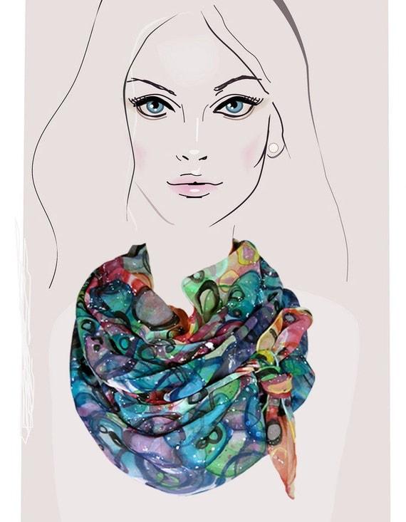 Rainbow Bubbles:  hand painted silk scarf